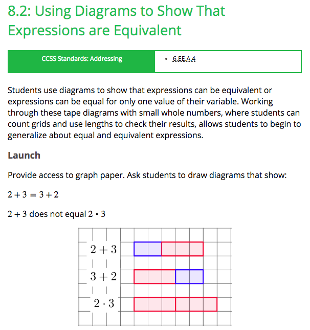 Free Practice Resource: Open Up Resources- Lesson on Using Diagrams to Model Equivalent Expressions - Click on the image to open to the complete Open Up Resources lesson on using diagrams to model equivalent expressions.(You will need to create a free teacher account on Open Up in order to use this resource.)