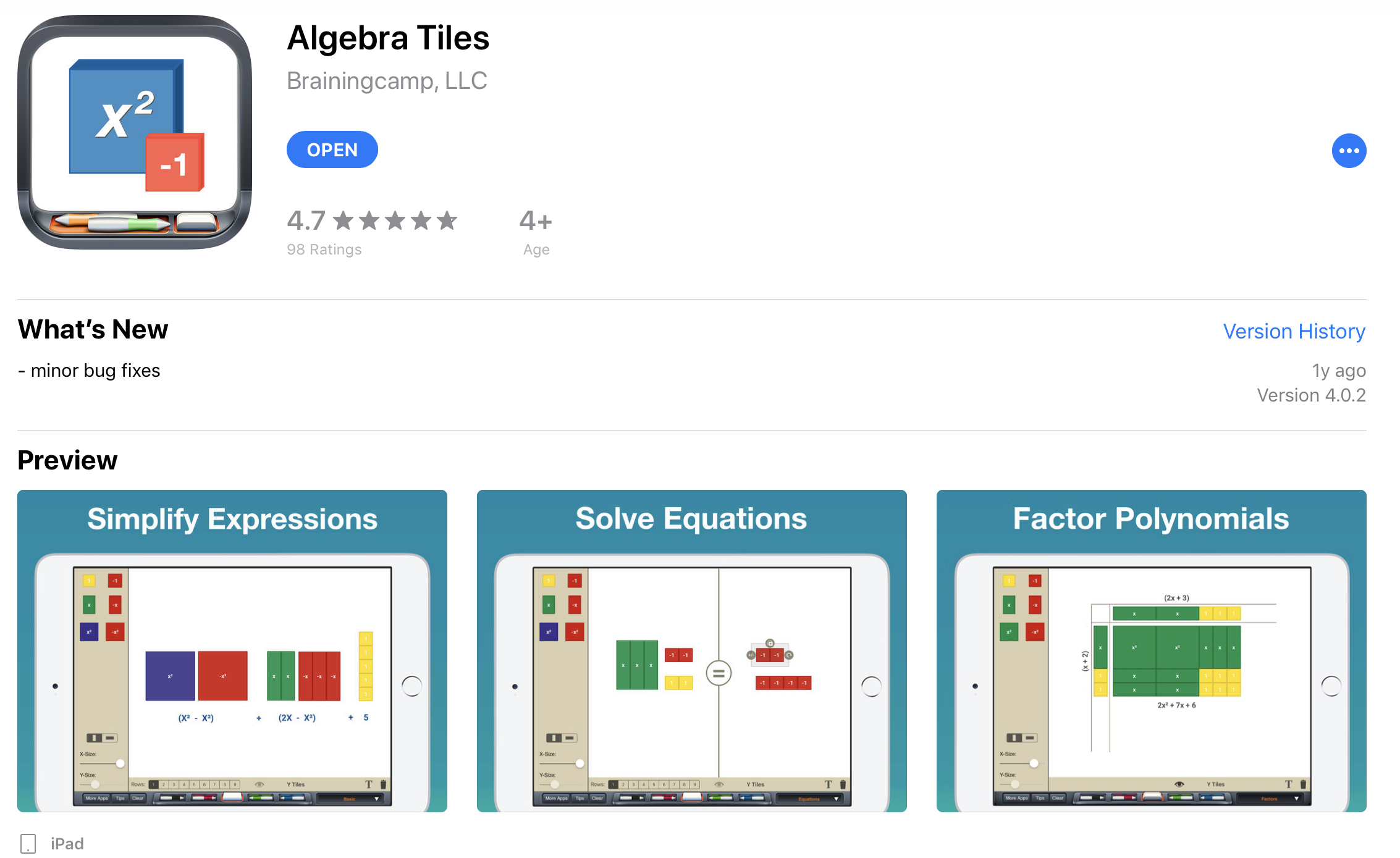 "Manipulative: Algebra Tiles iPad app by Braincamp - Search ""Algebra Tiles"" by Braincamp, LLC on your iPad App Store to access the above app. It's a paid app ($1.99), but it is much more user friendly when multiplying binomials.If you would like a free tool that can also be used to multiply binomials, use the NCTM Algebra Tiles link above and click on 'expand.'"