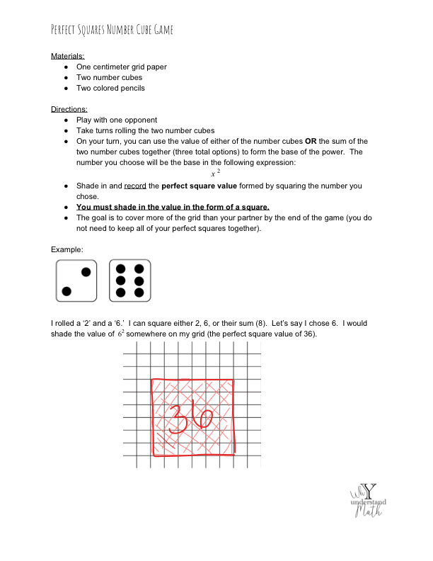 Visual Model: Perfect Squares Number Cube Game - Click on the image to open a PDF of a game we created to help students practice with identifying perfect squares. The rules are similar to the traditional 'squares' game.