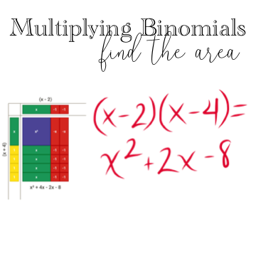 Misunderstanding 5: Multiplying Binomials - Click on the following images to find an example video, a manipulative/ visual representation that can be used when practicing with this skill, and a free practice resource that highlights the 'whY.'