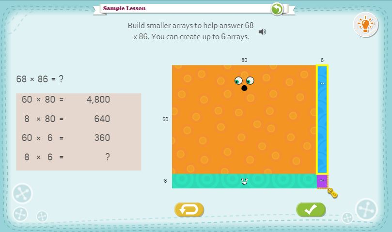 Visual Model: Dreambox Multiplication with Open Arrays - Click on the image to open up a teacher tool from Dreambox for applying the distributive property using area models and open arrays.