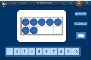 Visual Model: Identifying Numbers on a Ten Frame - Click on the image to open a teacher tool from Dreambox for identifying numbers on a ten frame.