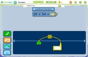 Visual Model: Addition on a Number Line using Landmark Numbers - Click on the image to open a teacher tool from Dreambox for adding numbers using an open number line. This tool emphasizes using a landmark number to help add more efficiently.