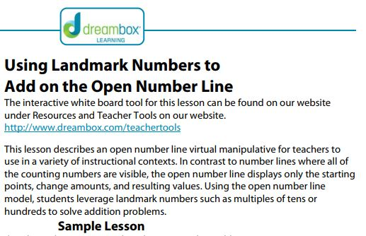 Free Practice Resource: Dreambox Lesson- Using Landmark Numbers to Add on the Open Number Line - Click on the image to open to the complete Dreambox lesson on for using landmark numbers to help with adding on a number line..(While most Dreambox features require a subscription, all of the resources on the Dreambox Teacher Tools website are free.)