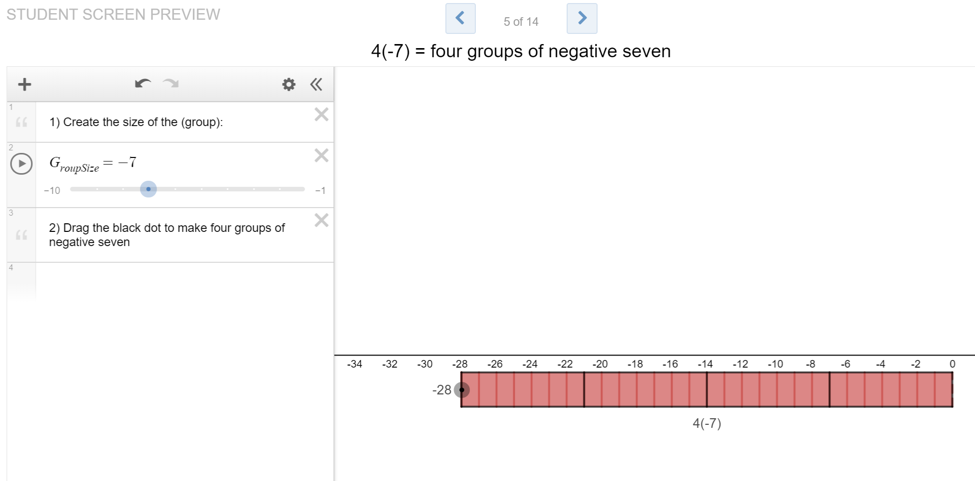 "1) Explore Multiplying Integers Using Number Line Models- Desmos - Click on the image to open a Desmos lesson by Andrew Stadel on using number lines to make a generalizations about multiplying positive and negative integers. Slides 11-14 ask students to make generalizations about multiplying two negative integers, and it may be helpful to have students try the pattern activity (#3 in this progression) before working with the concept of ""the opposite of."""