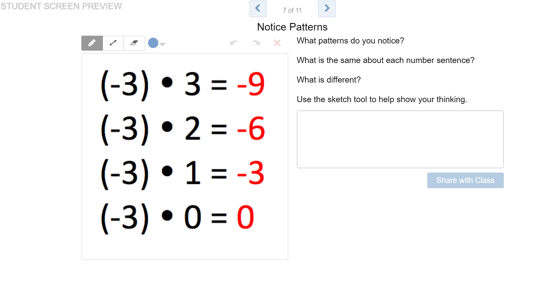 3) Use Patterns to Make Generalizations about Multiplying Integers - Desmos - Click on the image to open to a Desmos activity by Greta that helps students look at patterns to discover the rule for multiplying two negative integers.