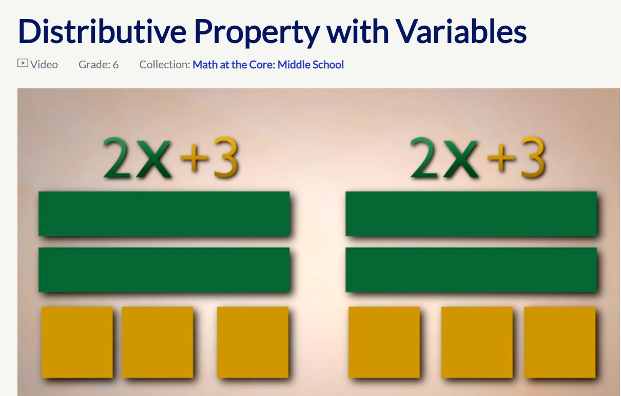 Example Video 2: PBS- Use Algebra Tiles to Model the Distributive Property - Click on the image to open a PBS video on using algebra tiles to model the distributive property. Digital or tactile algebra tiles can be used to model any application of the distributive property and of combining like terms.