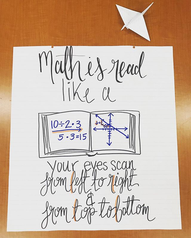 #mathdoodles and a paper crane left behind by a student.  #yunderstandmath #teachersfollowteachers #iteachmath #anchorchart