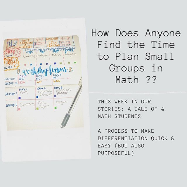 You can do it!!🎉 We promise. With purpose and a process, differentiating for your students in small groups during math workshop can be quick & easy (& oh so beneficial for student growth🙃). Follow along in our stories each night as we tell #ataleof4mathstudents (if only we just had 4 students 😂) & how we would differentiate for each.  First up: Courtney (yes, me). Through pre-assessment, we see that Courtney needs support building a foundational understanding of division before she can access the #5thgrade level standard of dividing whole numbers by unit fractions.  Join us tonight! #ataleof4mathstudents #iteachmath #iteachmaths #iteach5th #iteach5thgrade #mathteachersofinstagram #mathworkshop #bujo #bujoplanner
