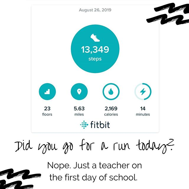"Synonyms for ""teacher"" on the first day of inservice: presenter, facilitator, mover, interior designer, cheerleader, drink-all-the-coffee-er, move-all-the-boxes-er (Thanks #fitbit for helping me remind the 🌎 about how hard teachers work!) #teachertired #teachersofig #yunderstandmath #iteachtoo #iteach #tftpickme #teachersconnect #fitbitversa"