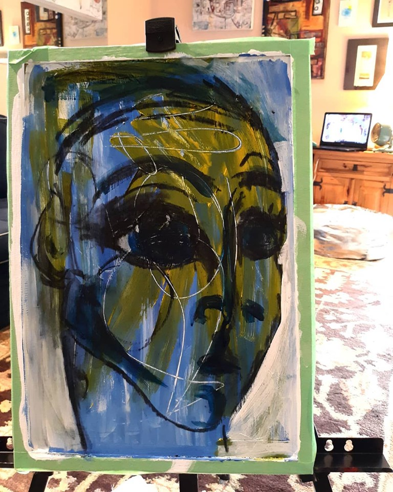 "SOLD.  Revelation. 18"" x 12"", acrylic, pastel and graphite on aluminum."