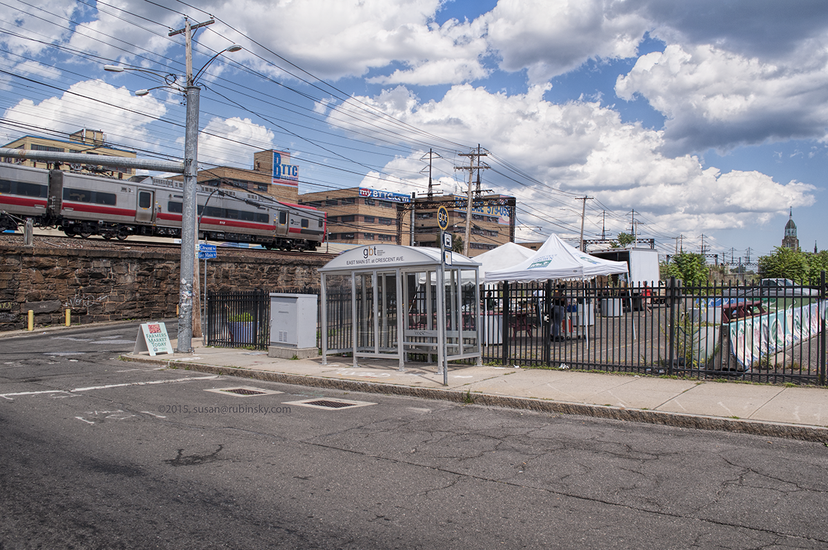 GBT bus shelter at East Main St and Crescent Ave by the weekly farmers market in the East Side neighborhood.
