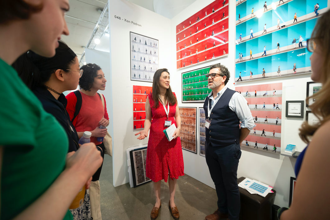 Leading a Creative Mornings Field Trip tour at The Other Art Fair Chicago. Artist :  Xan Padron