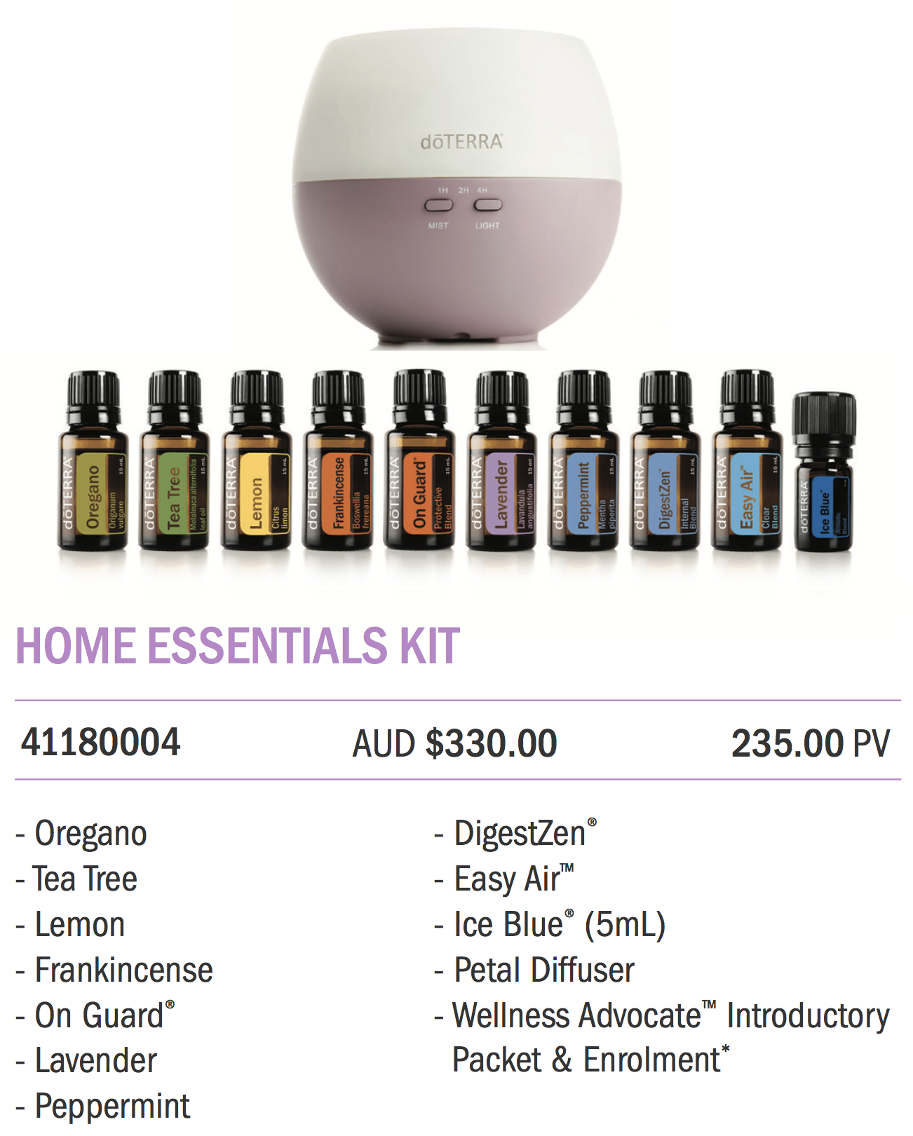 Home Essential Kit - 10 Essential Oils and a Diffuser
