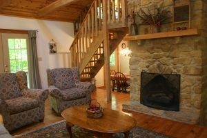 Old Hickory living room and Brown County stone gas fireplace -