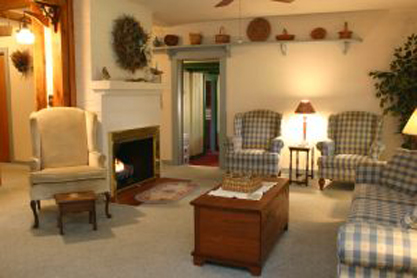 Sugar Cottage living room and gas fireplace -
