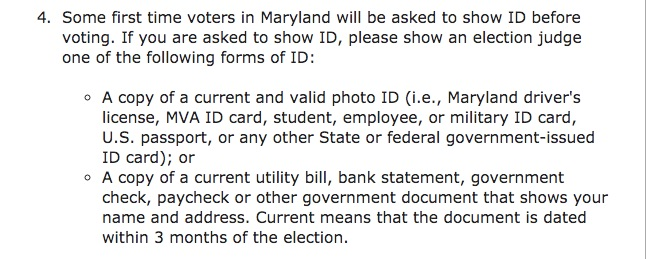 Screenshot taken from the MD Board of Elections Website