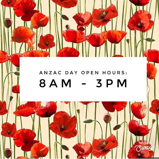 On Anzac Day, April 25th, we are open from 8am to 3pm 🌺 • • • • •  #bloc145 #sydneyfood #sydneyfoodporn #brunch #sydneycafe #breakfast #goodfoodsydney #Eastersunday #eat #restaurant #cafe #coffee #specialty #brunch #foodie #food #breakfast #lunch #allday #Redfern #Sydney #sydneybrunch #coffeebar #publicholiday #anzacday #anzacday2019 #poppy #scrumptious