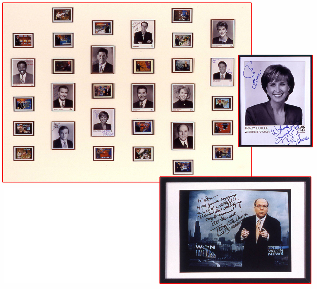 Exhibition in 1997 included framed, autographed photographs of every weathercaster on broadcast television in the Chicago area.