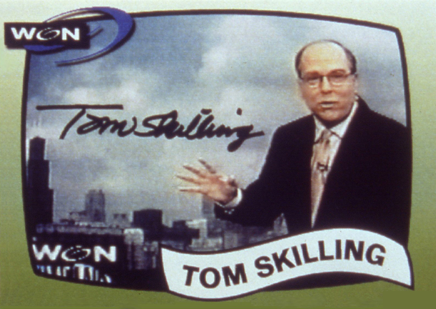 Tom Skilling's official trading card, complete with stats.