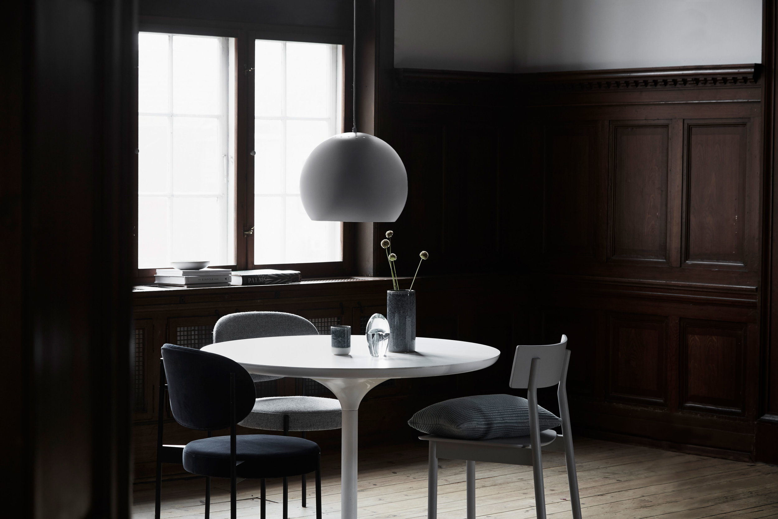 """""""Now Ball is being introduced as a mega pendant; a version that goes perfectly with today's trend of more oomph in designs and interiors. The round lamp is now 40 cm in diameter, and the large, soft shape forms a delightful contrast to the quadratic surroundings that often dominate the living and dining room.""""   READ"""