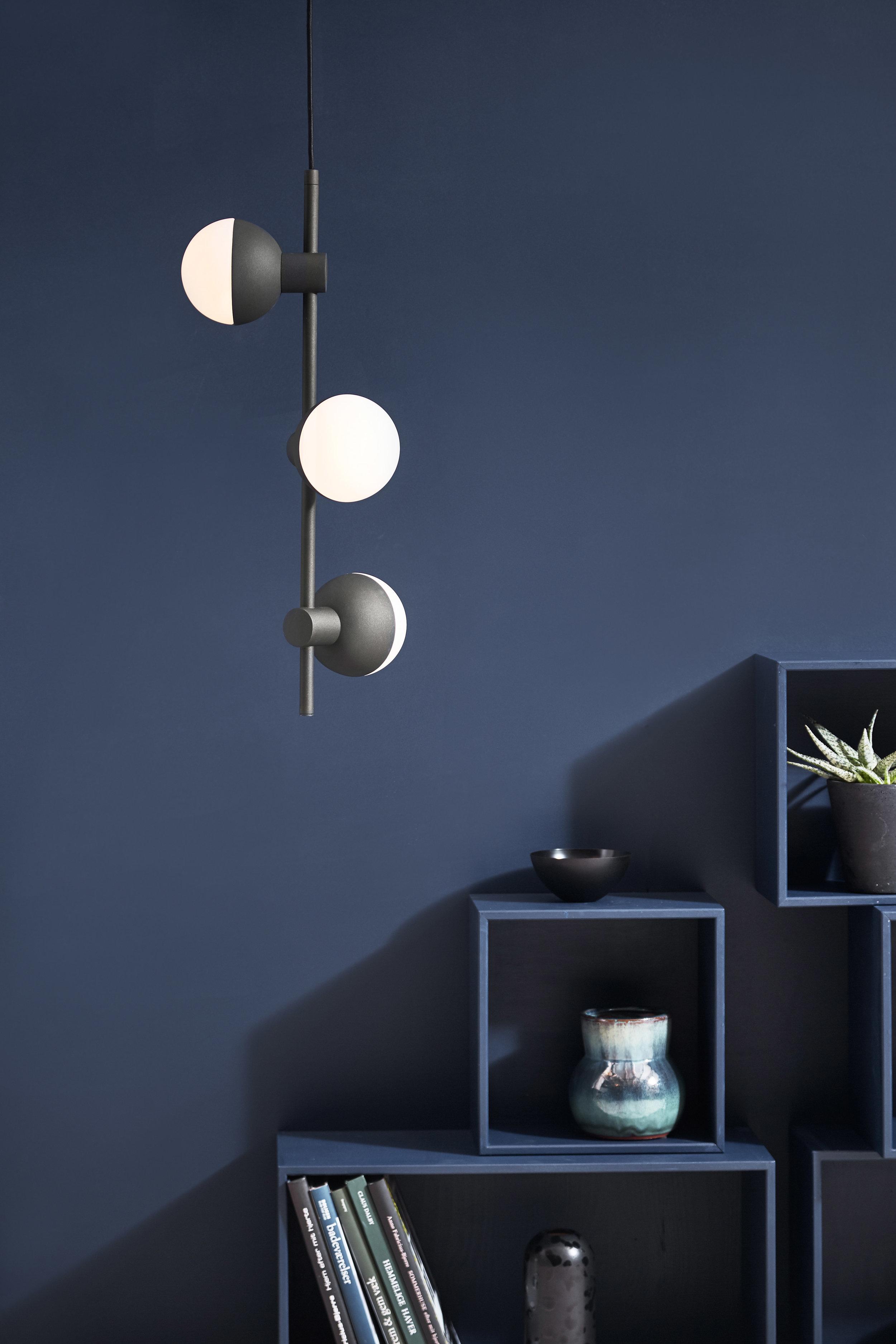 Metal chandelier with 3 spots. Dimensions: H62 cm Variants: Structure Black Matt & Opal White Glass Designer: Frandsen Design Studio    MORE