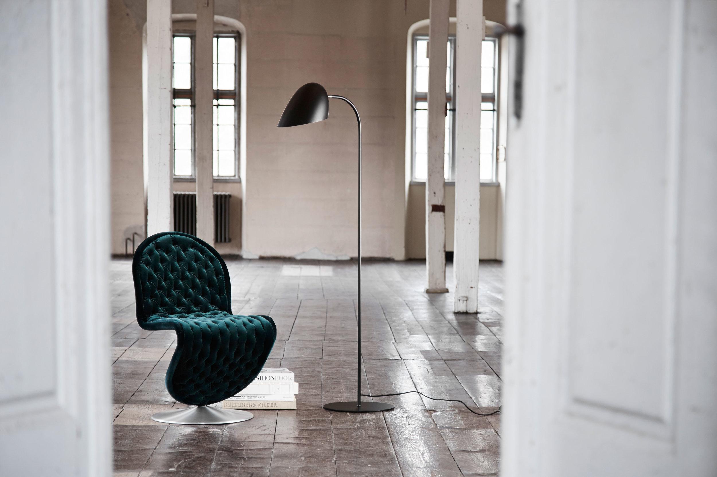Metal floor lamp. Dimensions: H157.2 cm Variants: Black Designer: Frandsen Design Studio    MORE