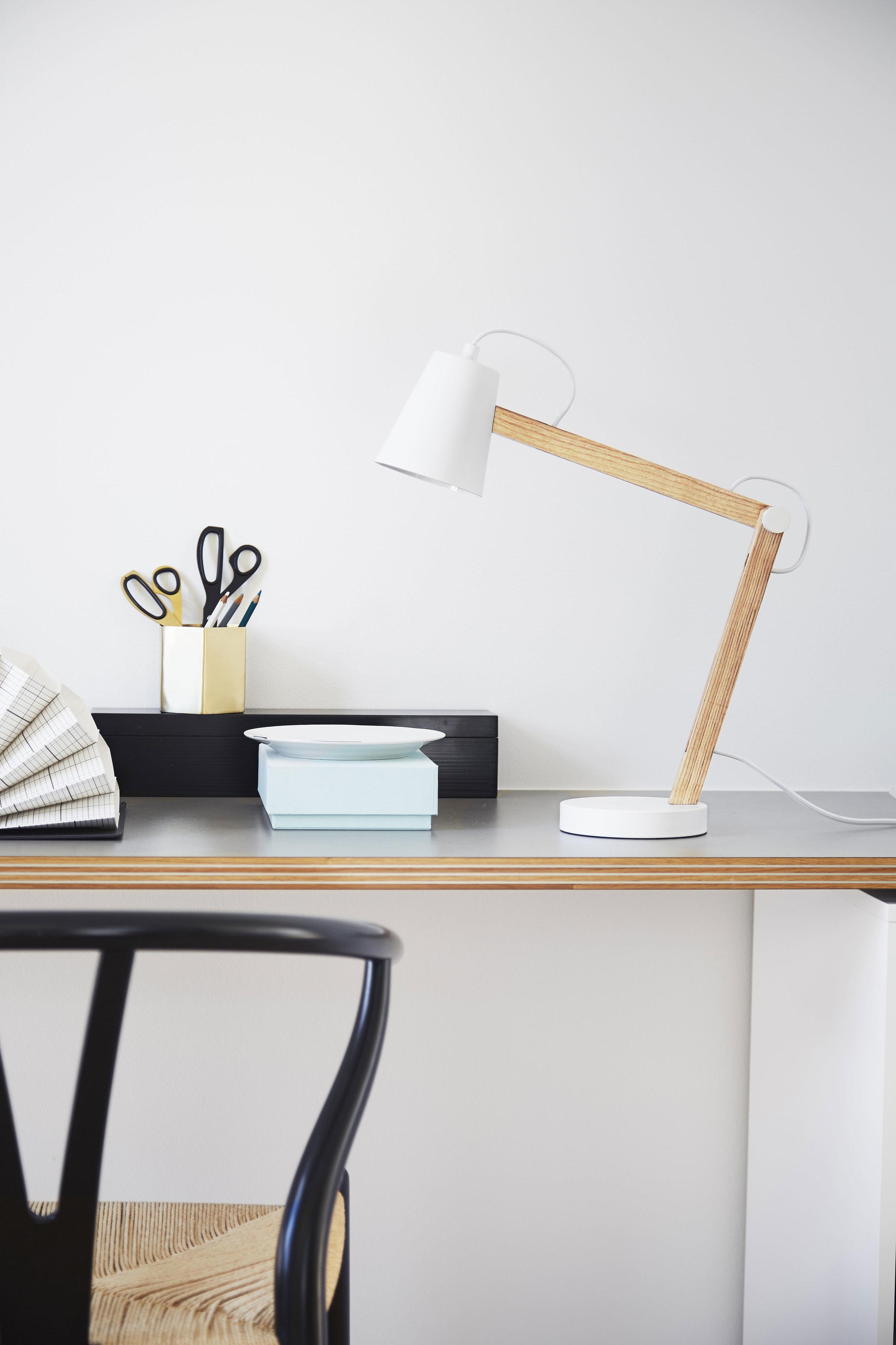 Desk lamp. Dimensions: H44 cm | Shade: ø10xH12 cm Variants: White | Grey Designer: Frandsen Design Studio    MORE