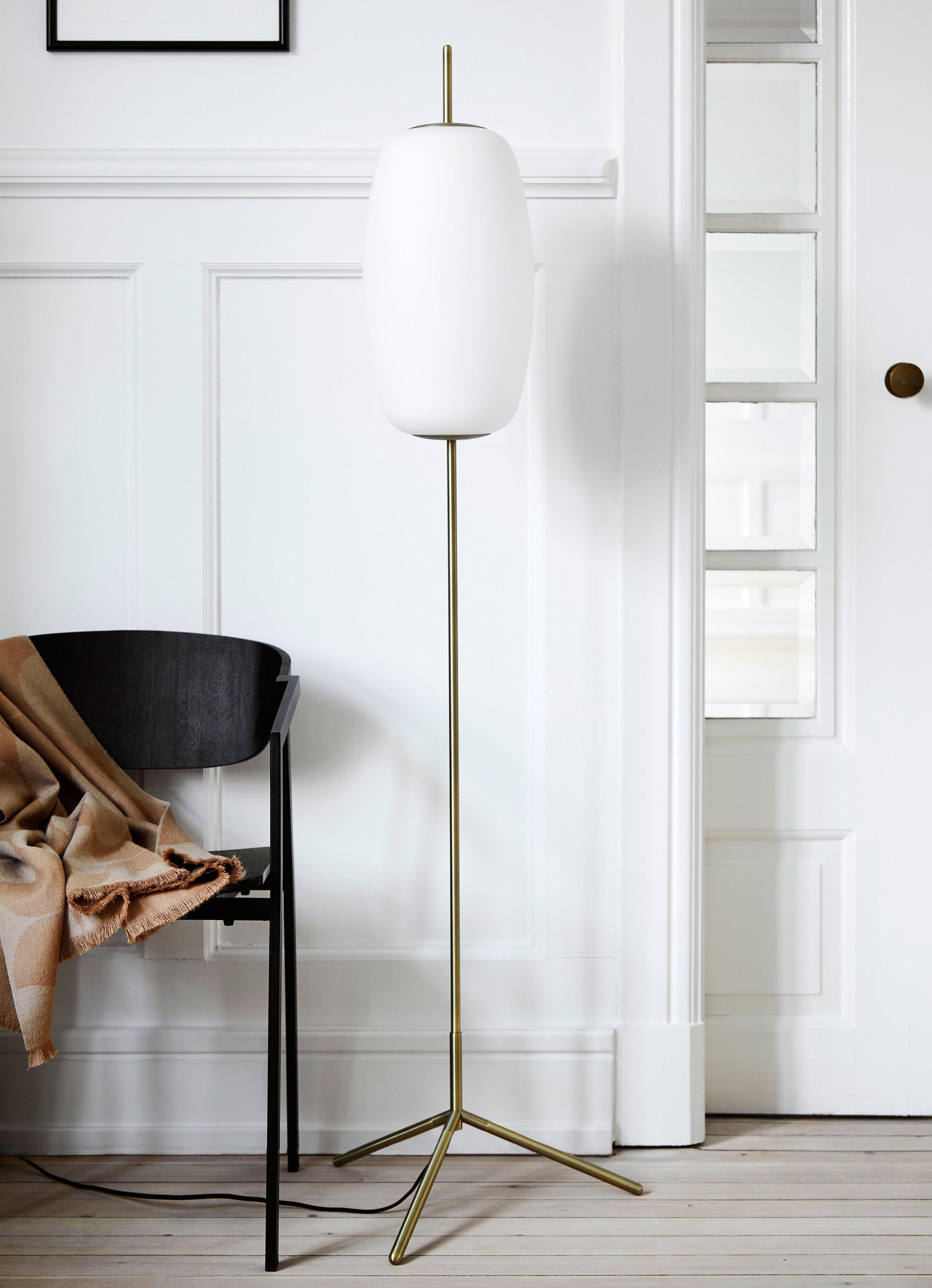 Glass floor lamp. Dimensions: H150 cm | Shade: ø22 cm Variants: Opal white glass Designer: Frandsen Design Studio    MORE