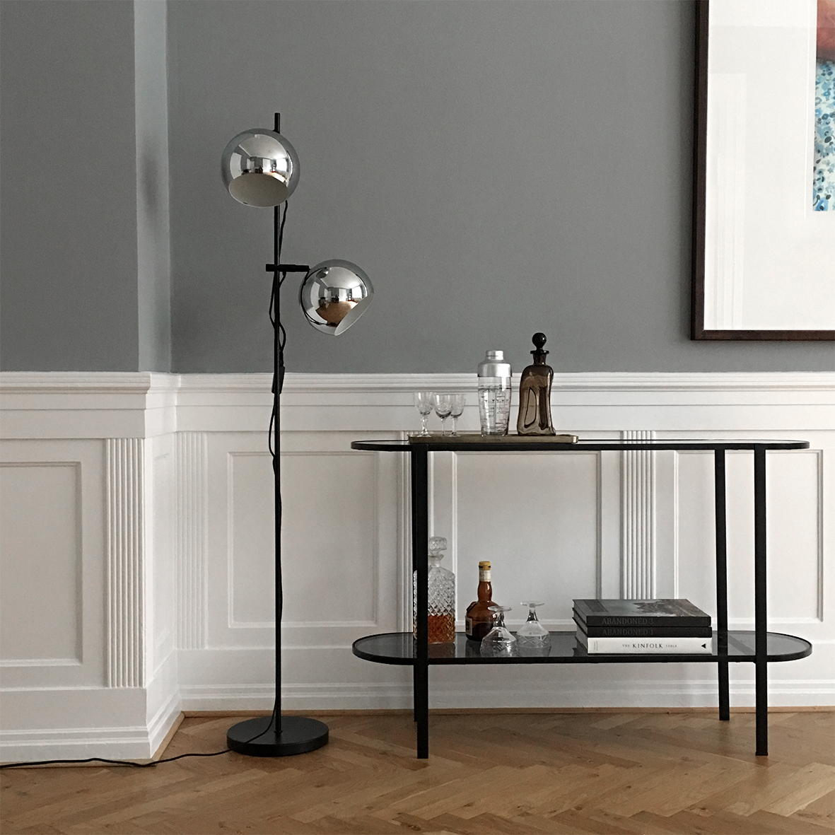 Ball Double floor lamp chrome black - lifestyle HM 63327.jpg