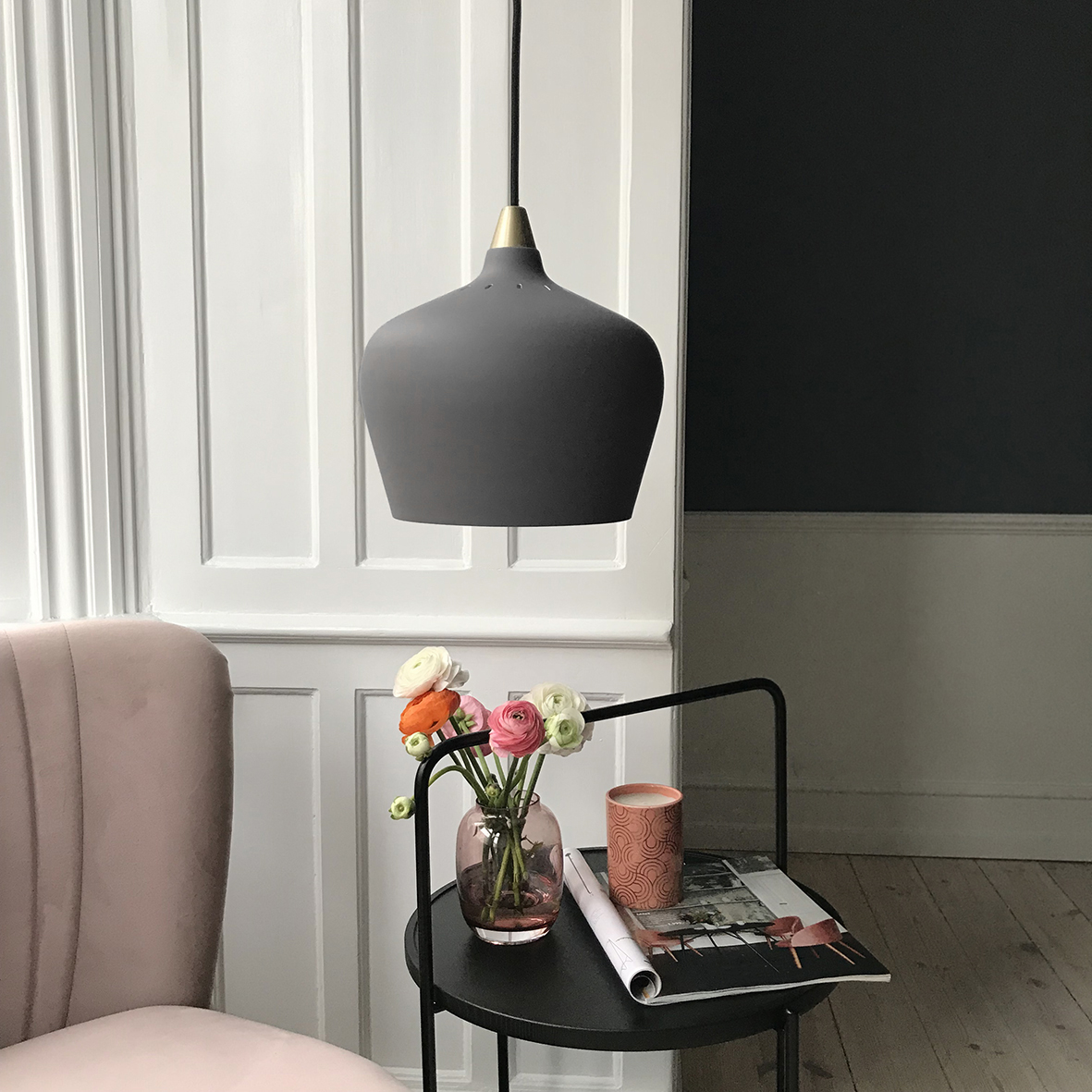 Metal pendant with fabric cord. Dimensions: ø16 cm, ø22 cm or ø32 cm Variants: Grey | Taupe Designer: Frandsen Design Studio    MORE