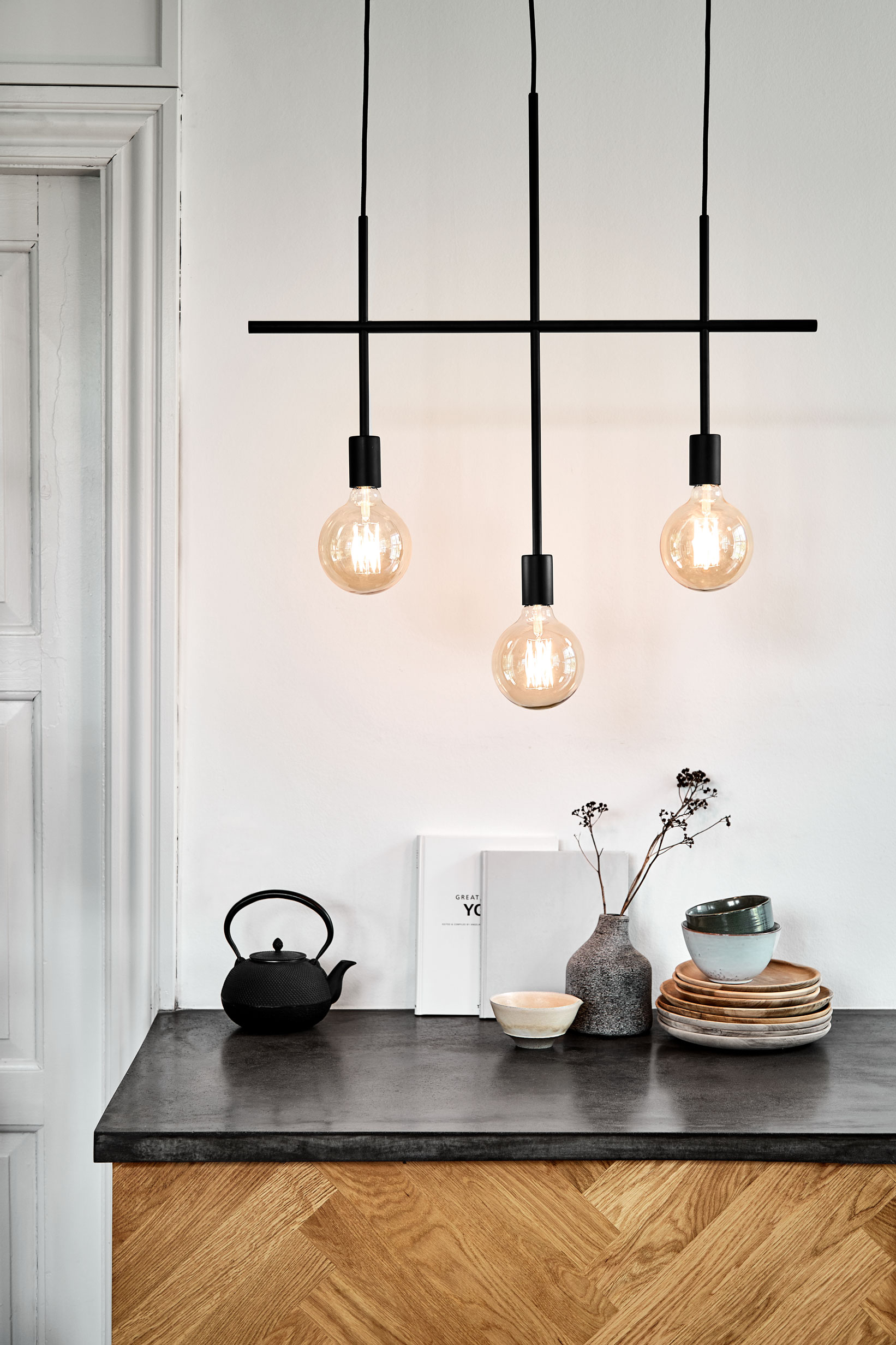 Chandelier in matt black with 3 arms. Dimensions: L75 cm Variants: Black  (NEW)     MORE