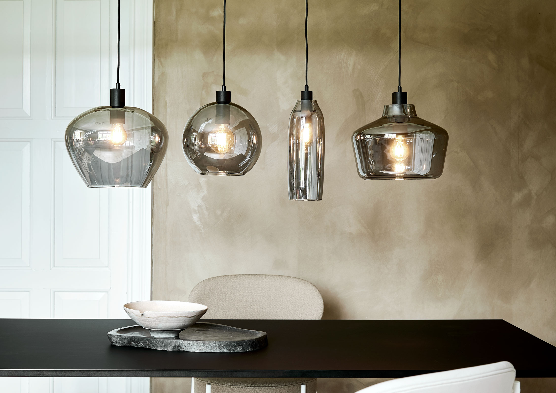 Glass pendant with black fabric cord. Dimensions: ø12.5 cm | H25 cm Variants: Electro plated  (NEW)     MORE