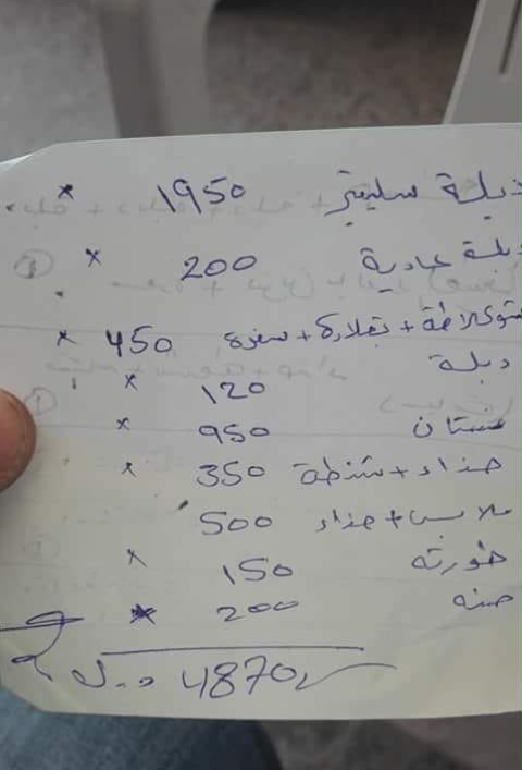 Image of a list of engagement costs in Tripoli, Libya. Taken from Facebook.