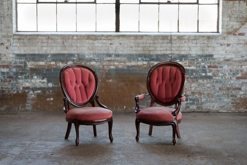 Napoleon + Josephine Sweetheart Chairs in Rose Velvet