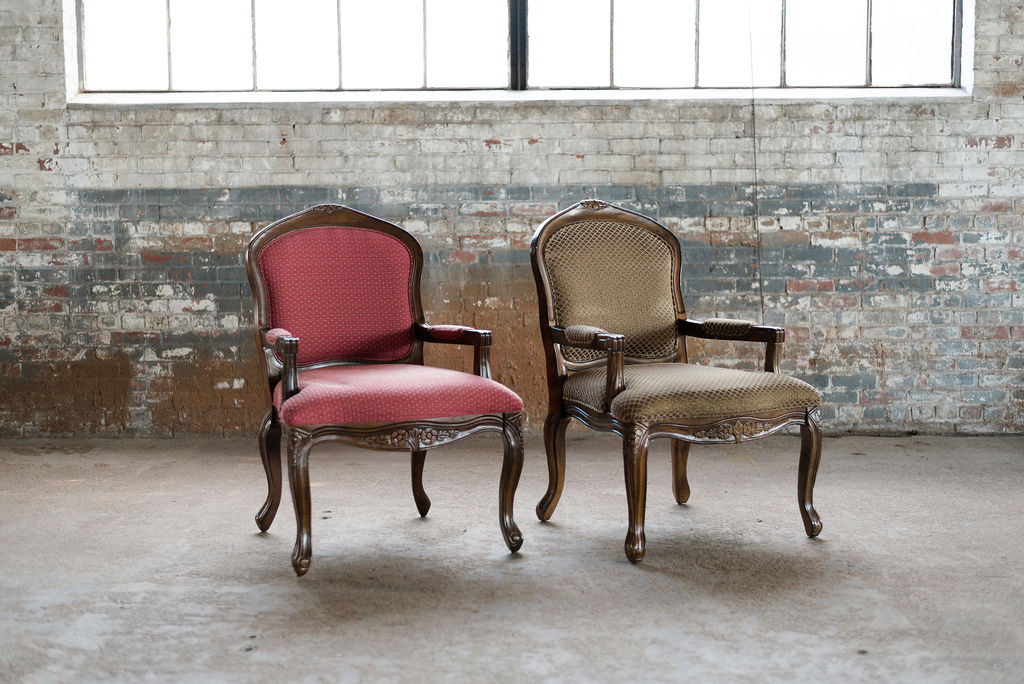 The Emmetts - Armchairs in Burgundy & Gold