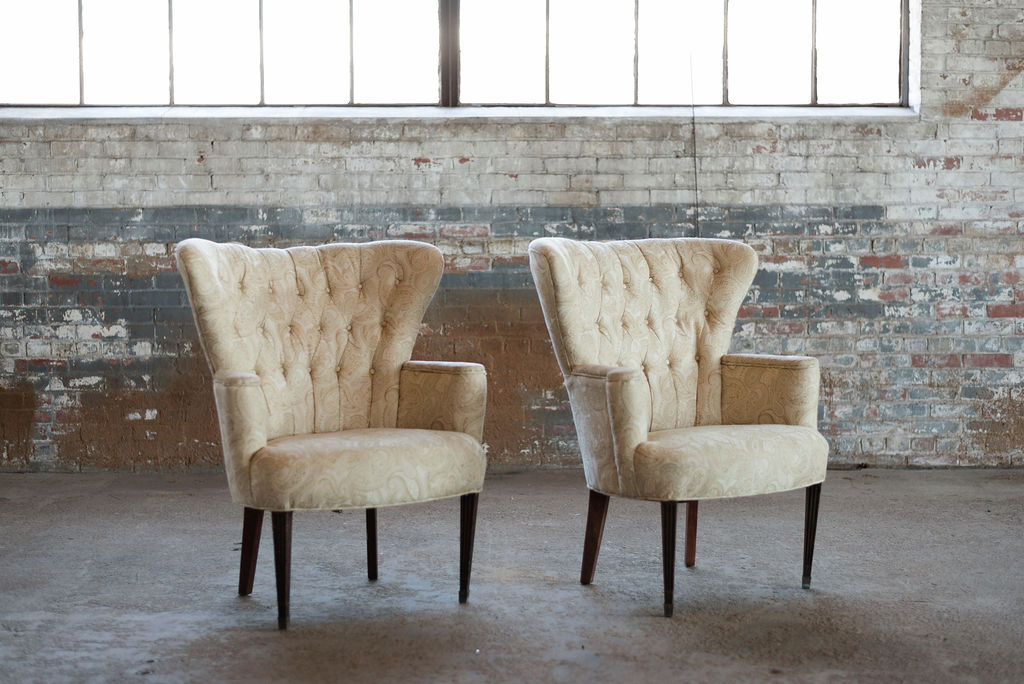 The Paisleys - Upholstered Armchairs in Yellow Tuft