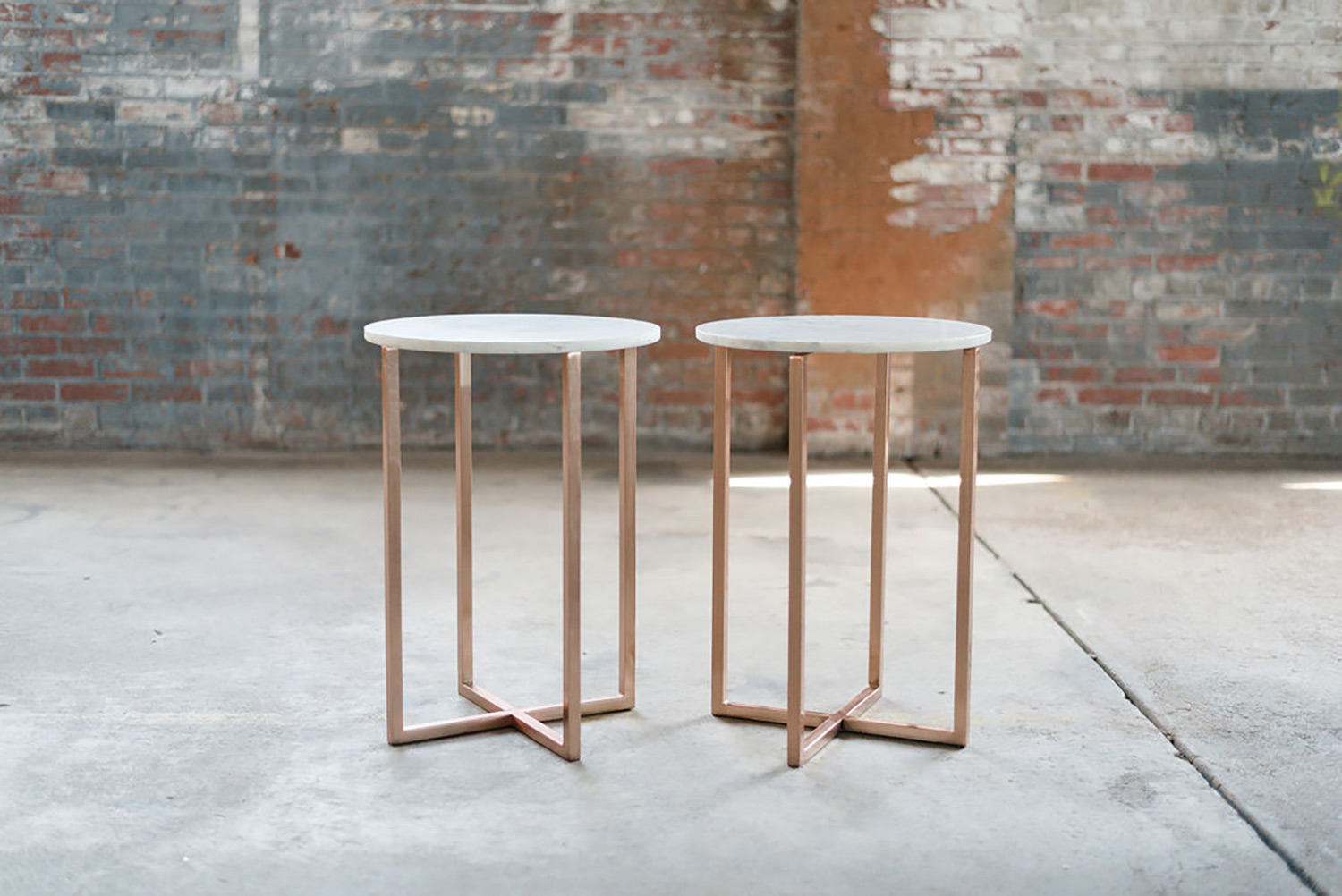 Caesar End Tables in Marble & Rose-Gold