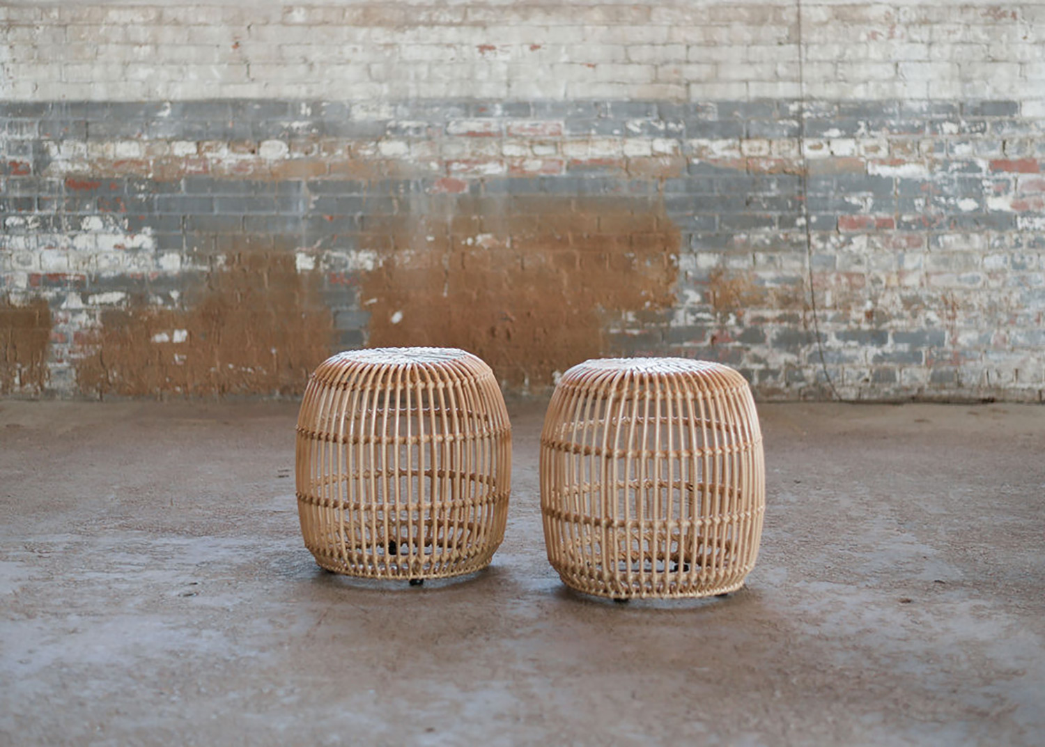 Cane End Tables in Boho Wicker