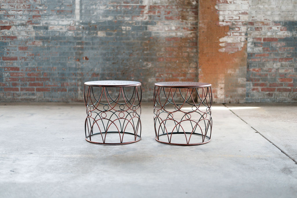Fletcher End Tables in Bronze Metal
