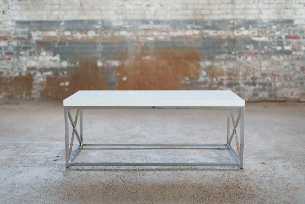 Hermes Coffee Table - White + Silver