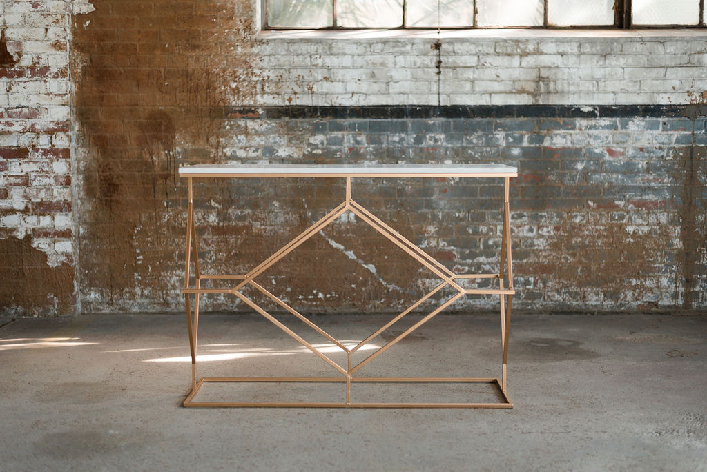 Tiffany Sofa Table - Marble + Rose Gold