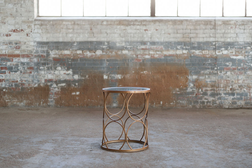 Elise End Table - Gold & Mirror Top