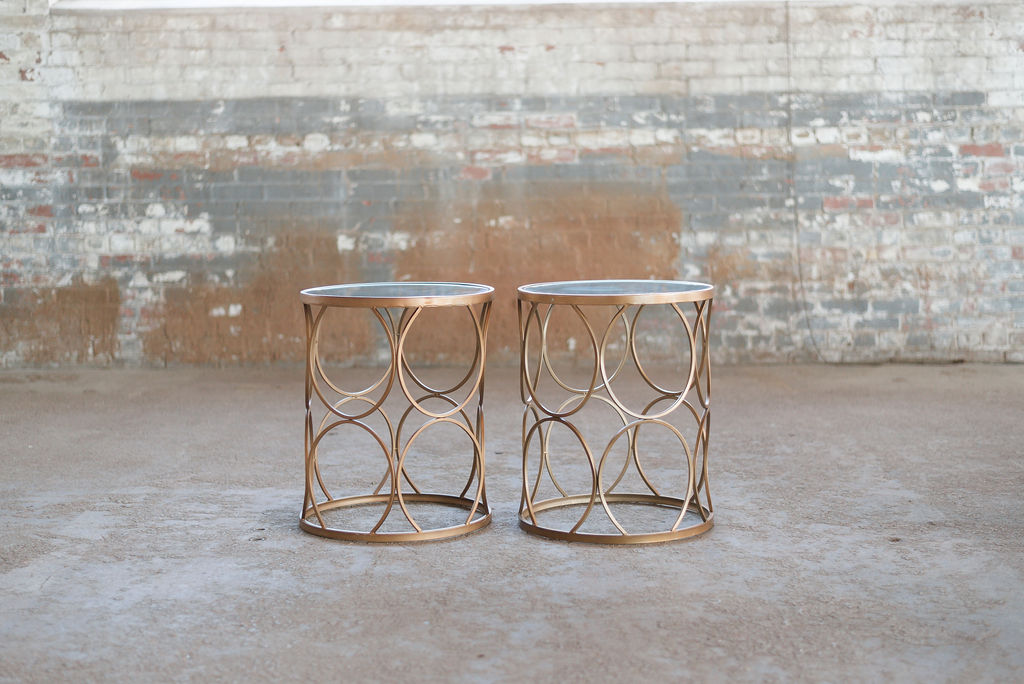Elise End Tables - Copper + Glass