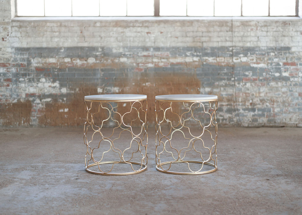 Kayla End Tables - Gold Geometric + Marble