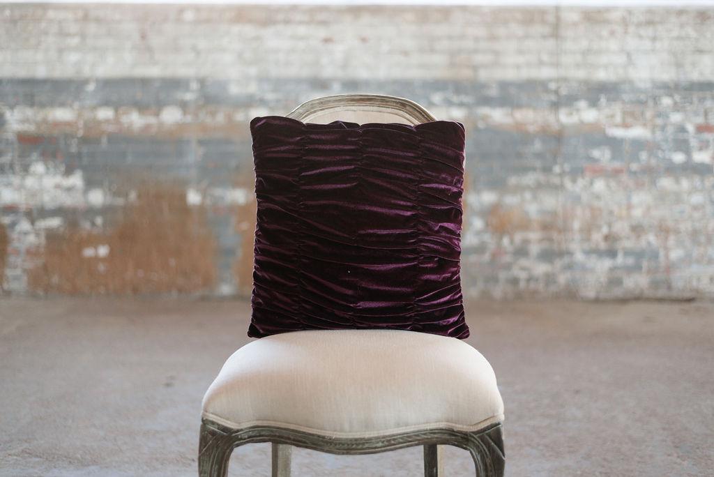Purple Velvet Ruched- Square