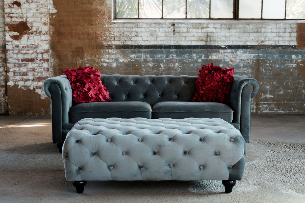 Greyson Collection - Grey Velvet Chesterfield
