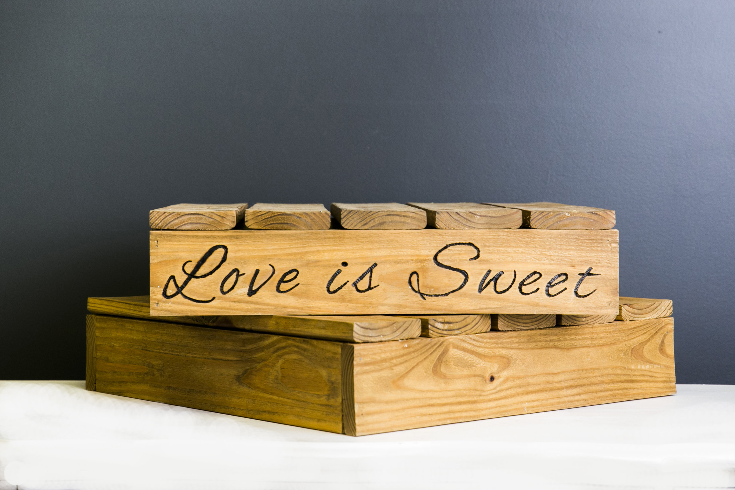 Love is Sweet Cake Dessert or Cake Pallet Assortment - Wood