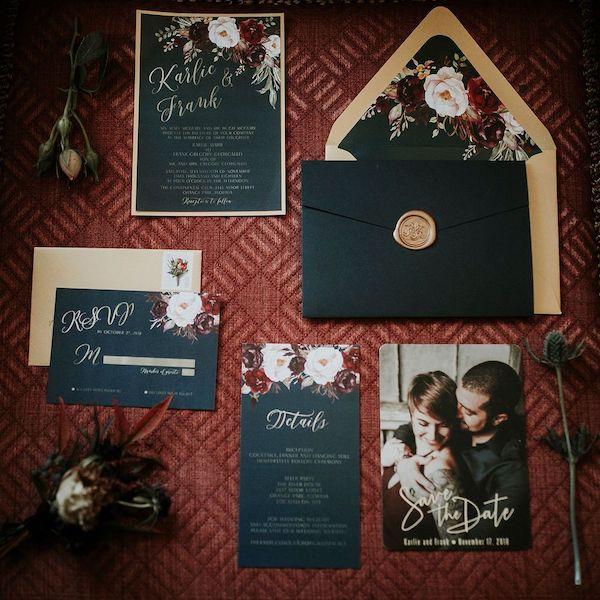 2 - Southern Charm Events – Club Continental– Club Continental Wedding – Jacksonville wedding – Jacksonville wedding planner - black wedding invitations.jpg
