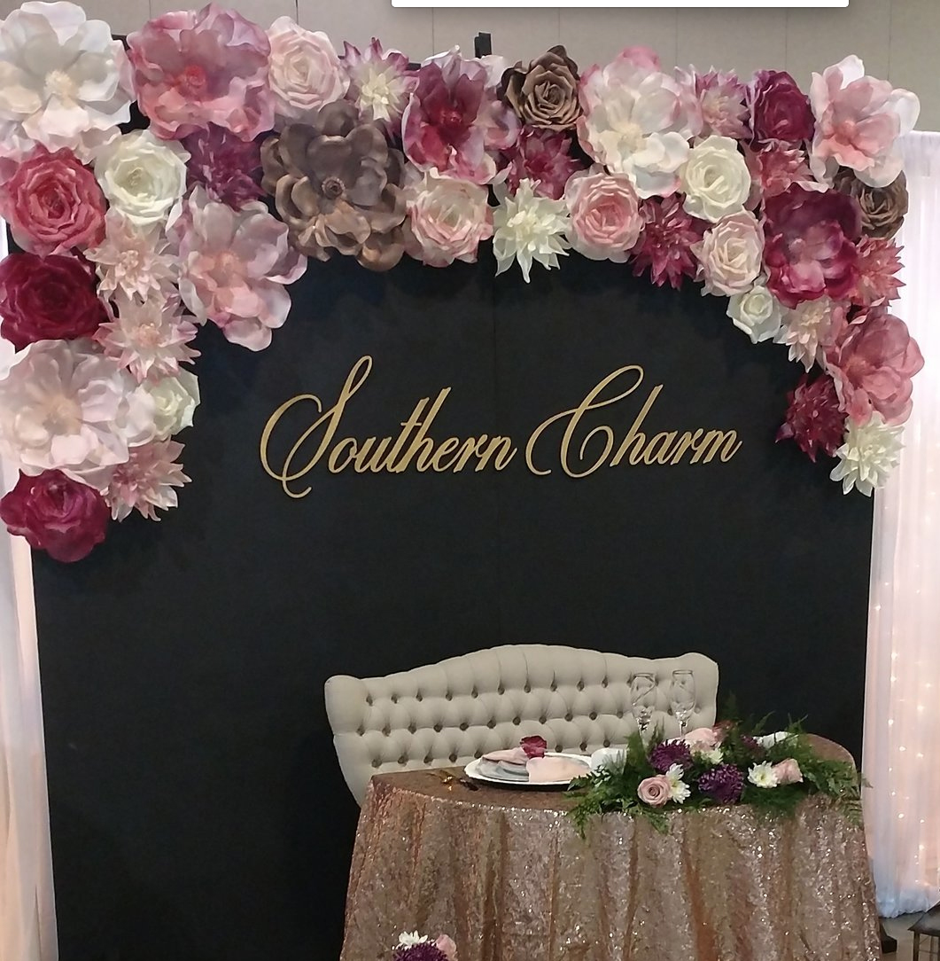 Flower Wall with Chalkoard Backdrop - Burgundy, Rose Gold, Blush